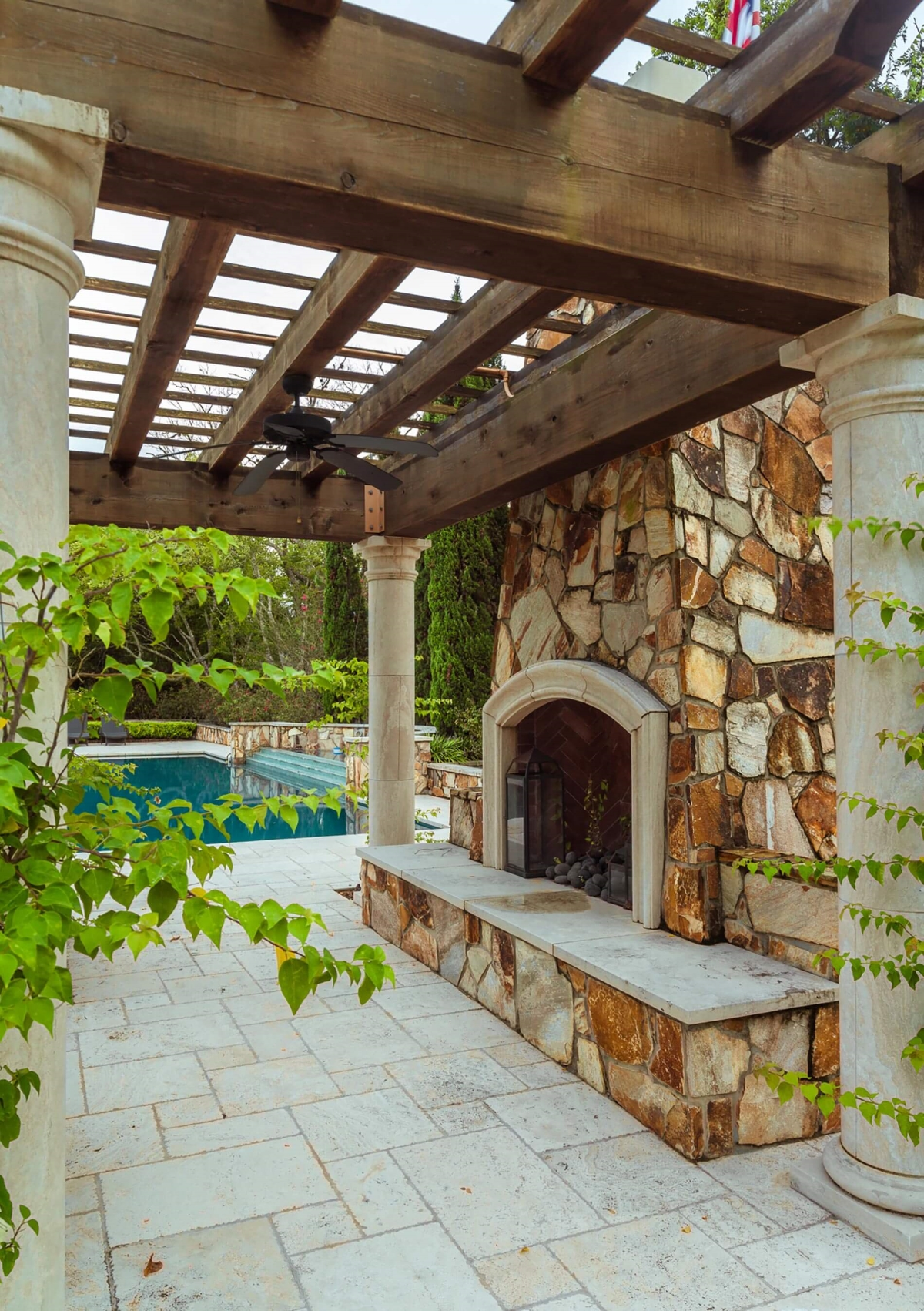 tudor custom outdoor fireplace