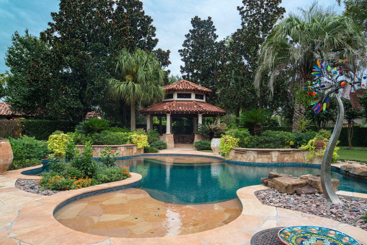italianate mediterranean back yard pool
