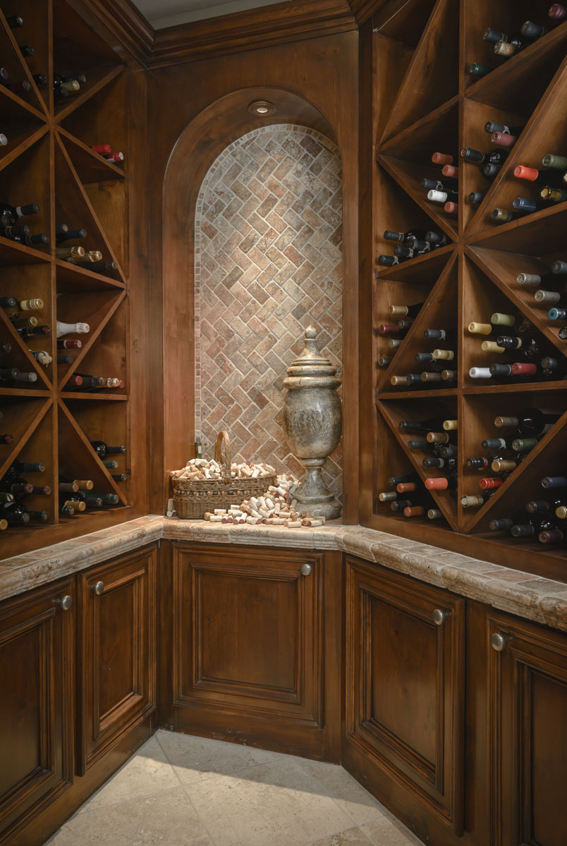 italianate mediterranean wine cellar
