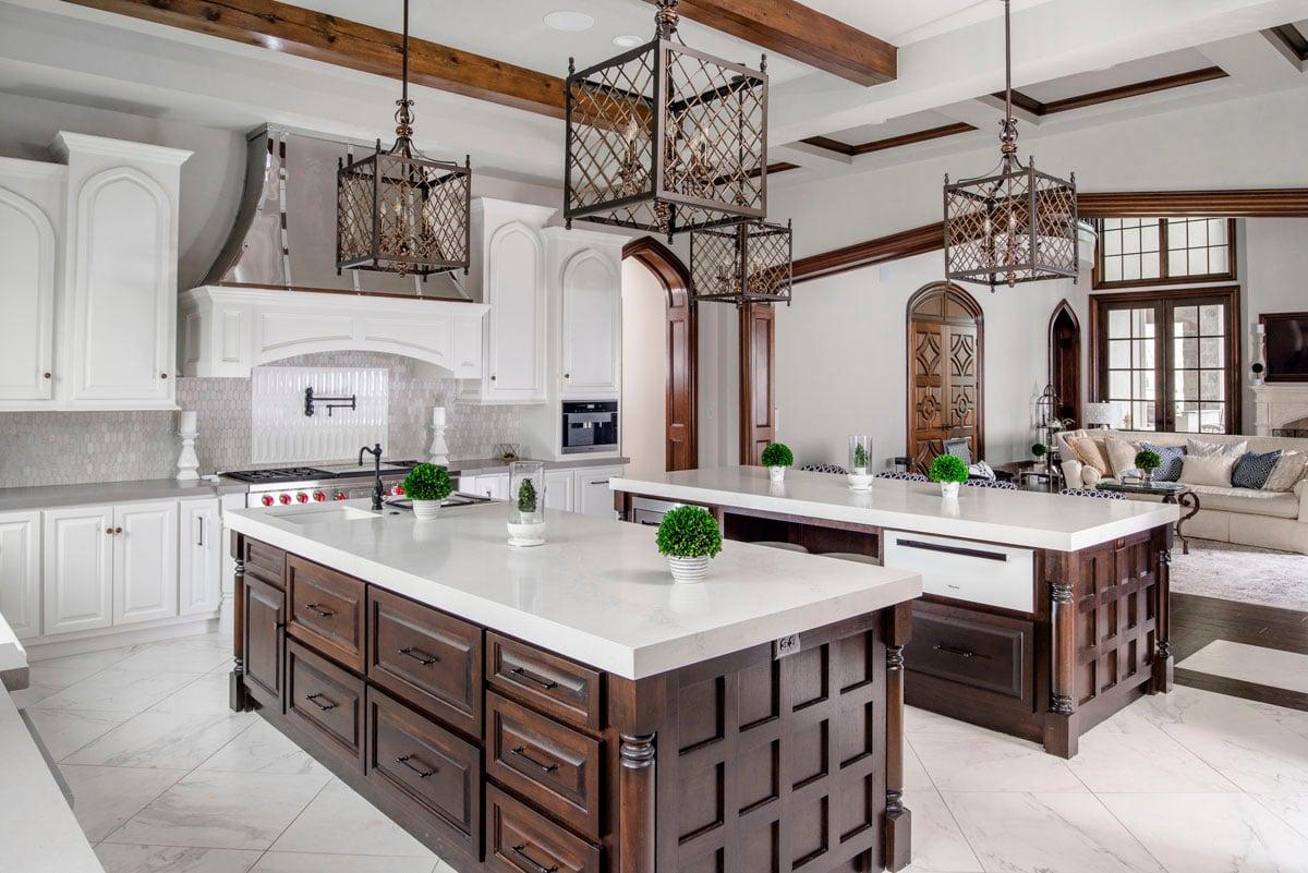 english tudor kitchen islands