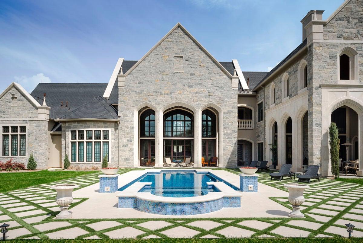 english tudor backyard pool