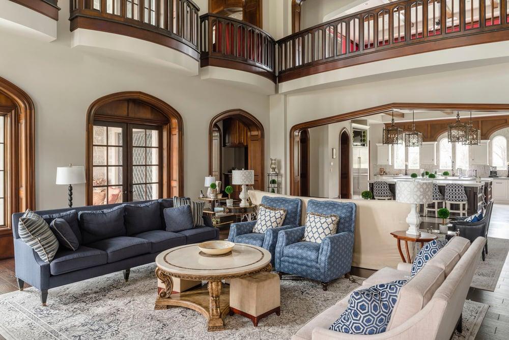 living room design of a custom home