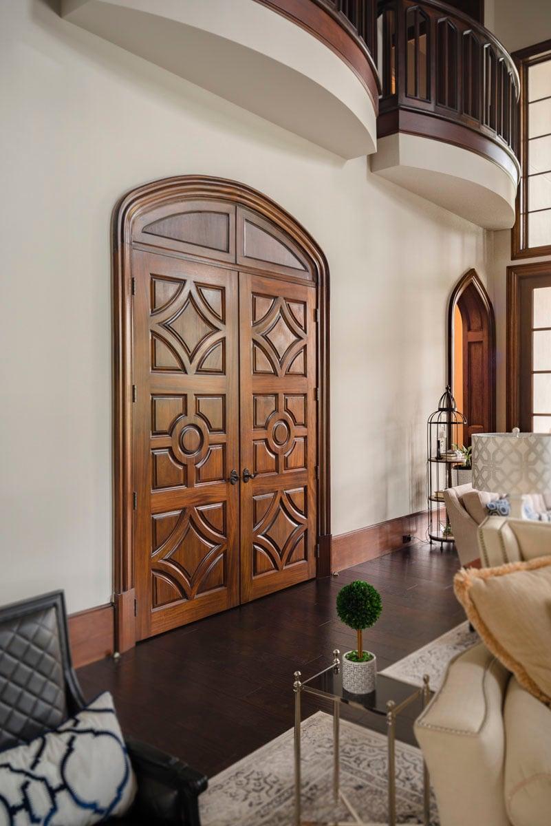 english tudor living room door