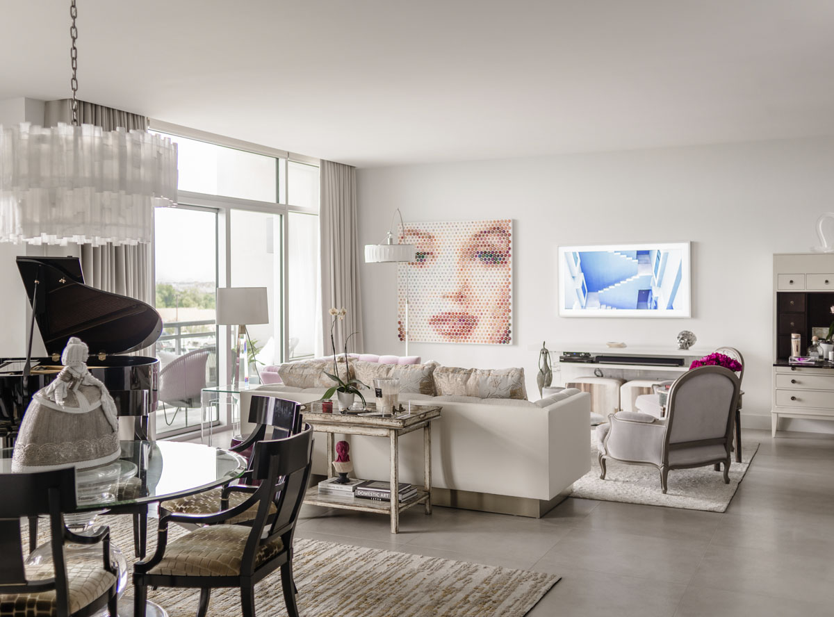 art collector condo living room