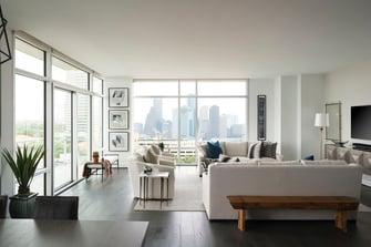condo transitional custom living room