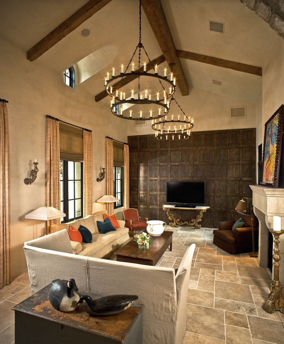 custom tuscan villa living room