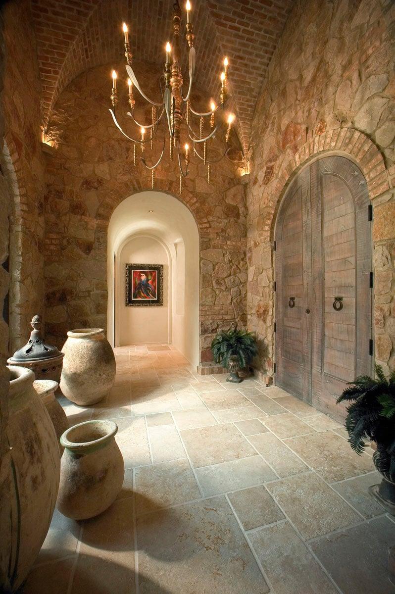 custom tuscan villa hallway