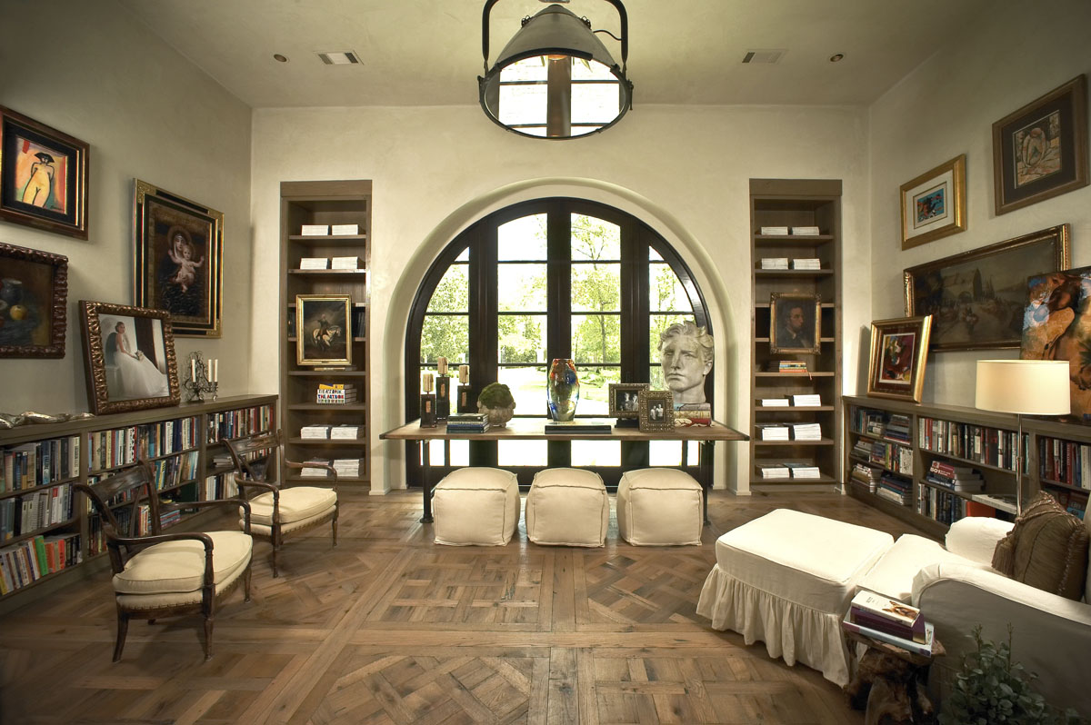 custom tuscan villa library