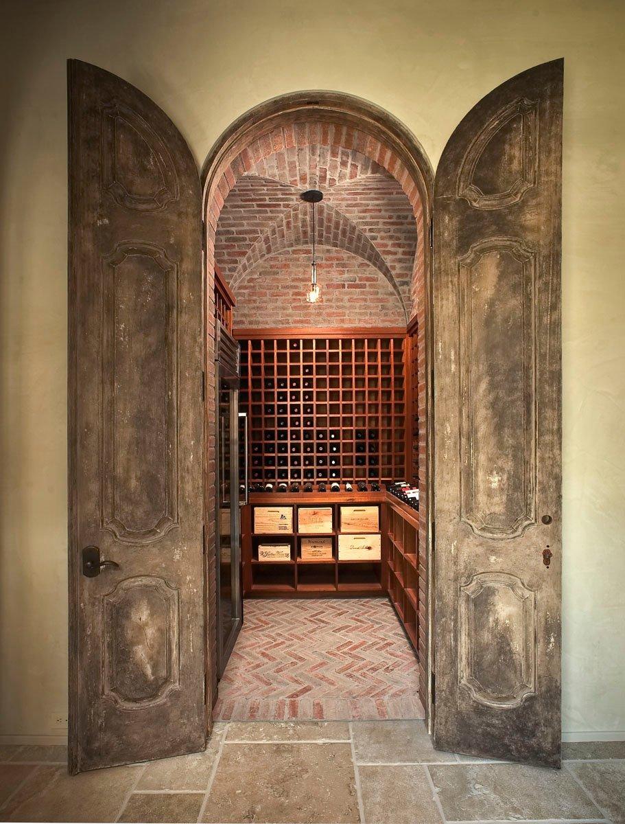 custom tuscan villa wine cellar