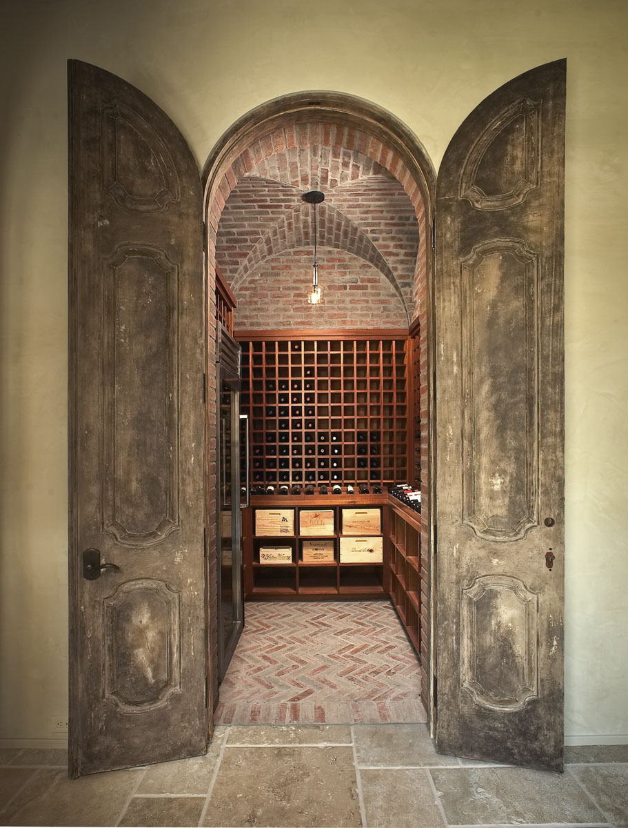 custom tuscan villa wine cellar