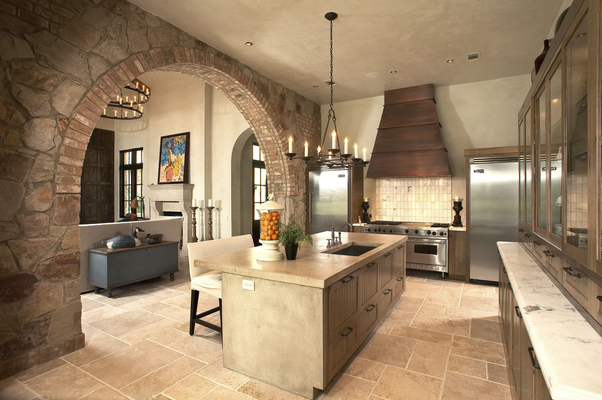 custom tuscan villa kitchen range hood