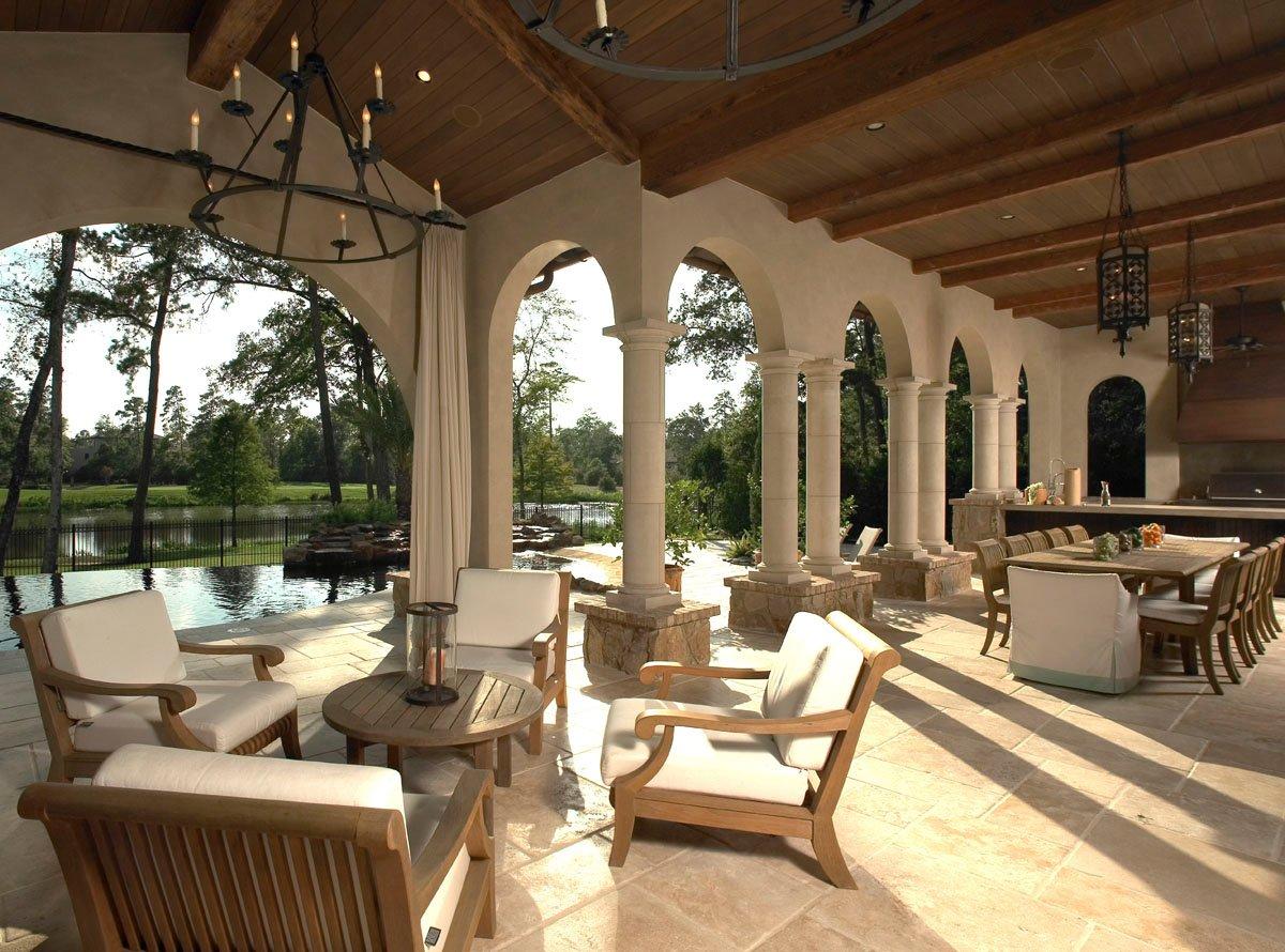custom tuscan villa outdoor seating