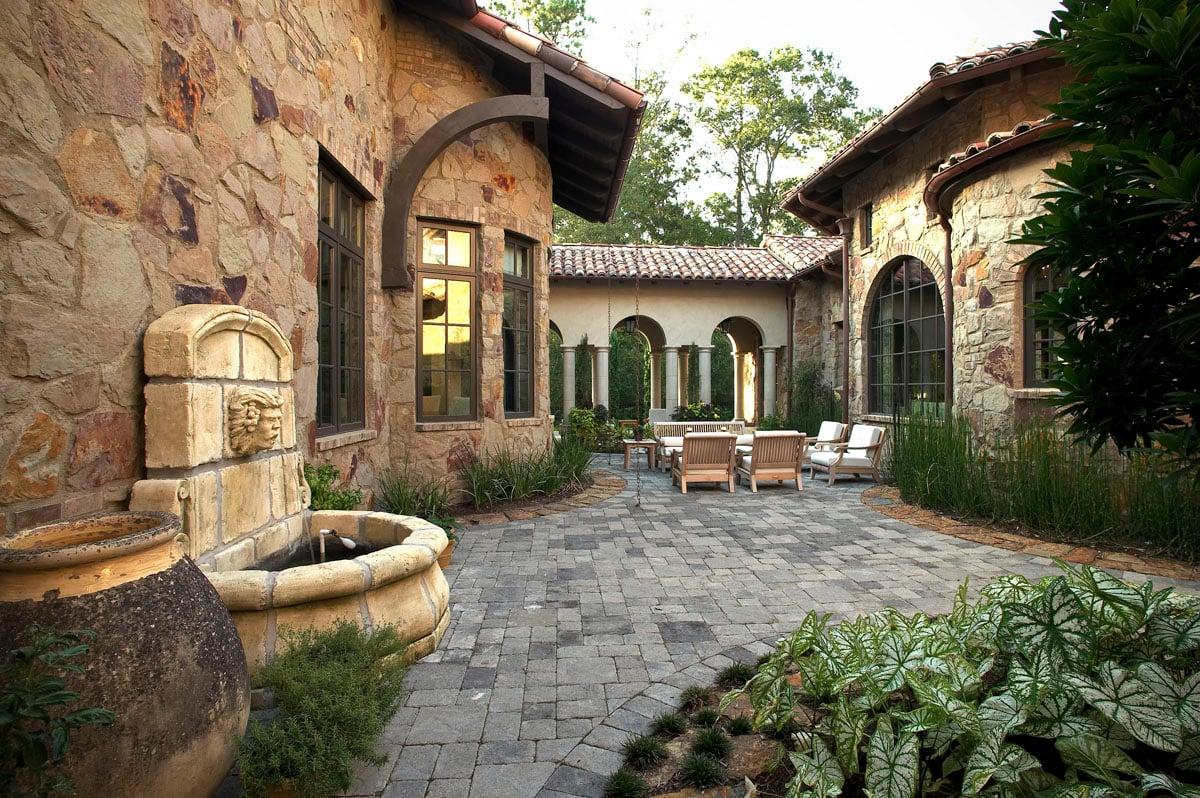 custom tuscan villa backyard