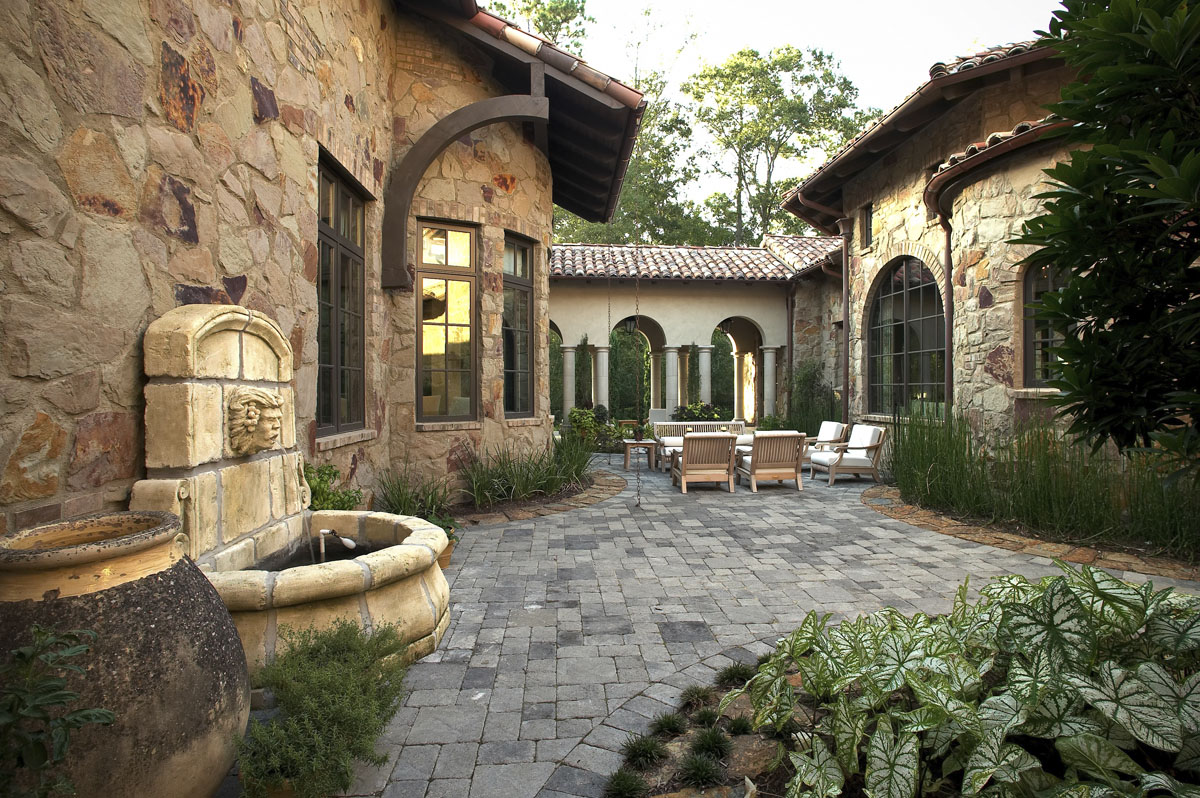 custom tuscan villa backyard