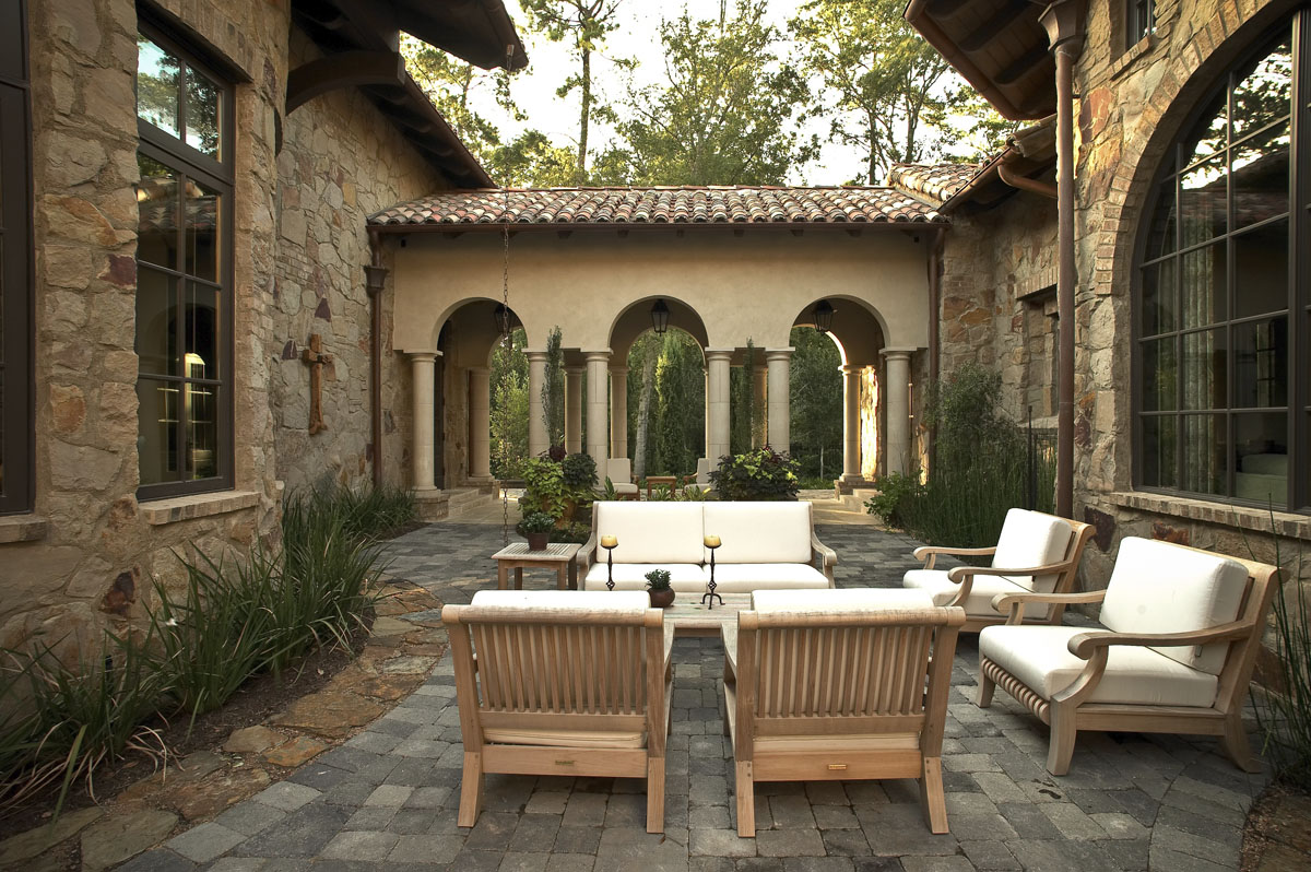 custom tuscan villa outdoor seating