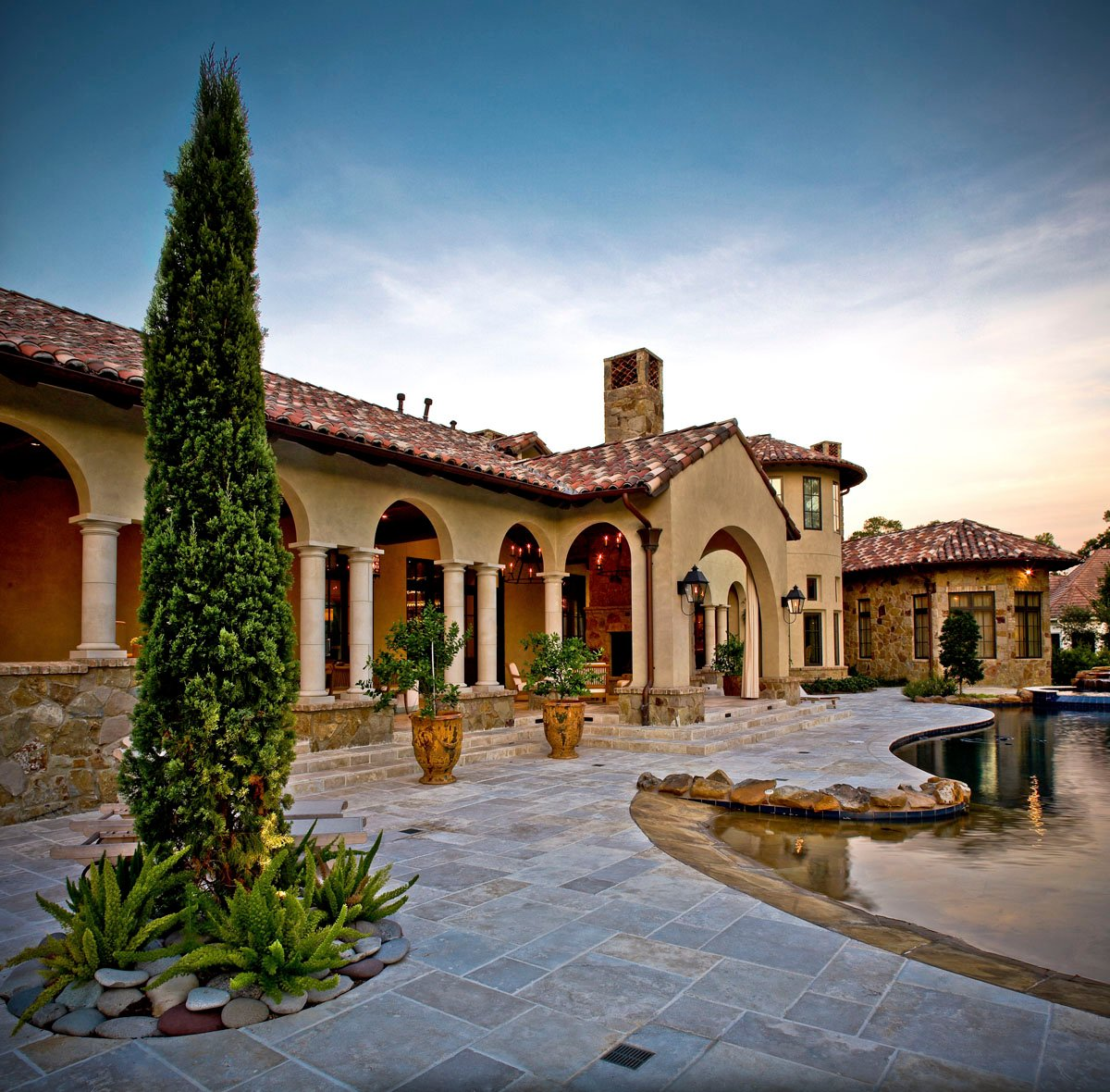 custom tuscan villa backyard view