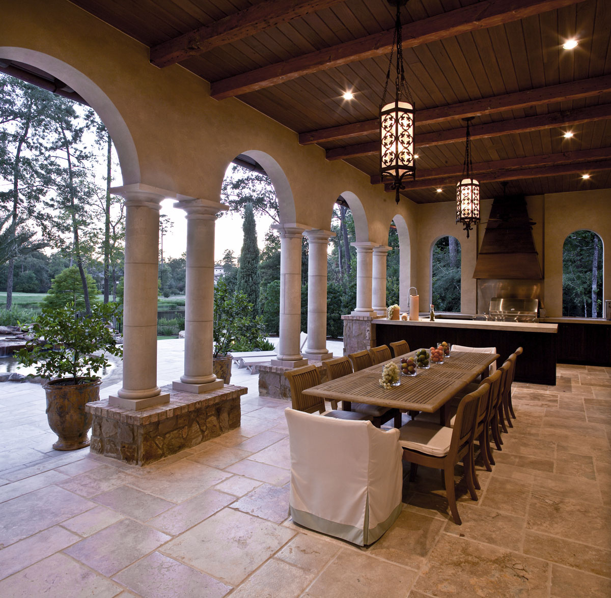 custom tuscan villa outdoor kitchen
