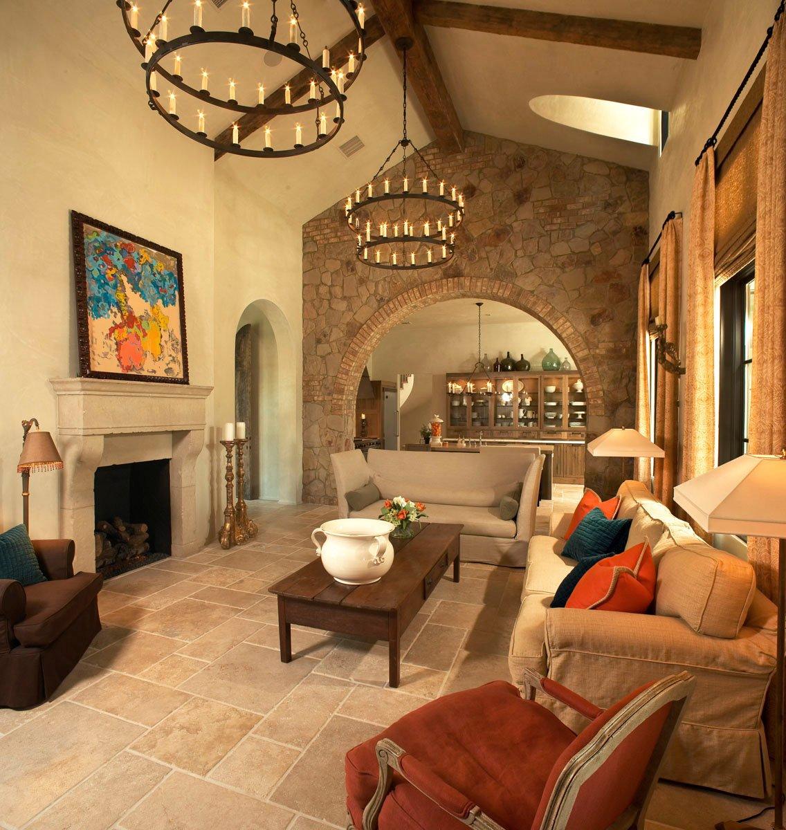 custom tuscan villa living room