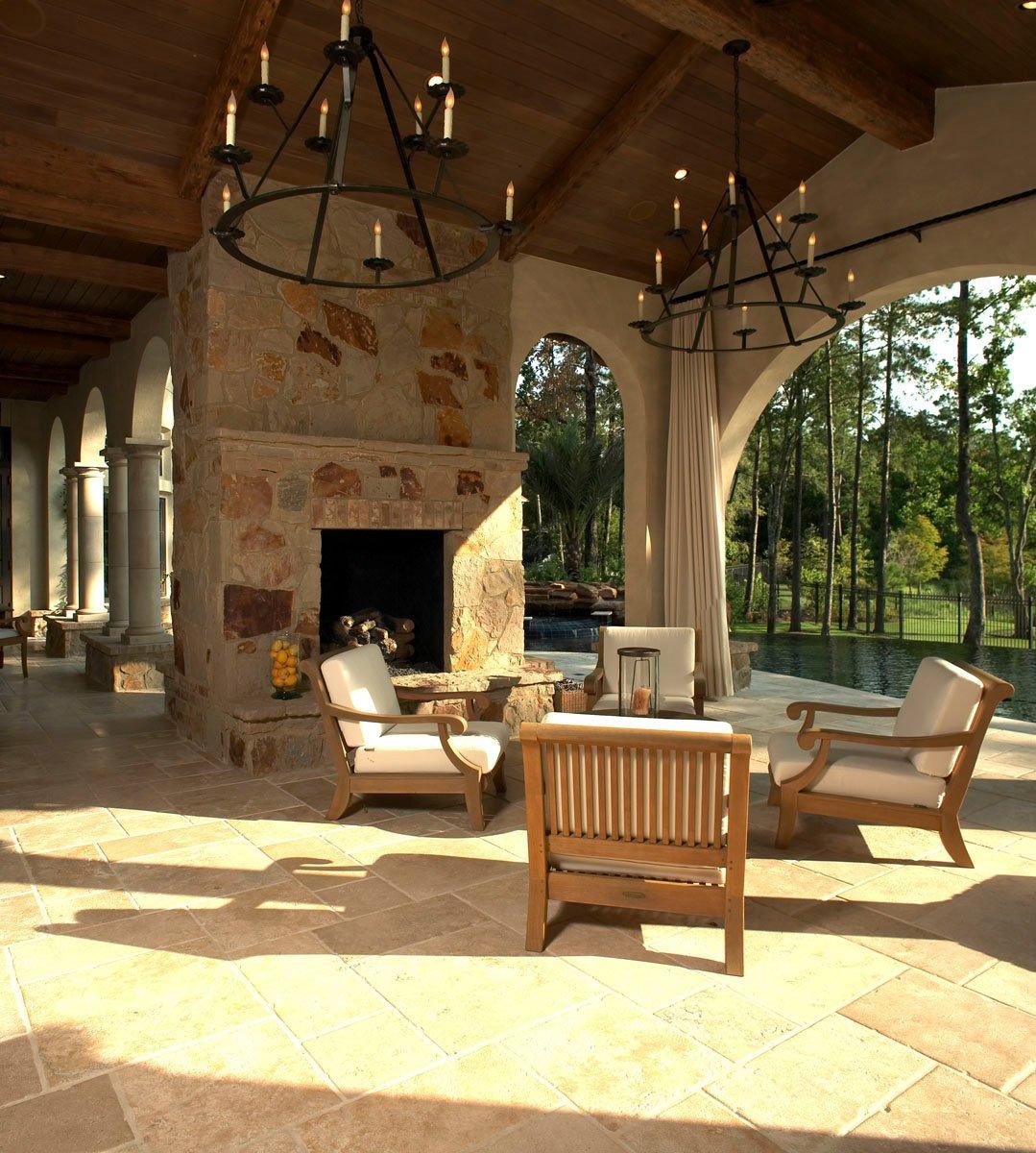 custom tuscan villa outdoor lounge