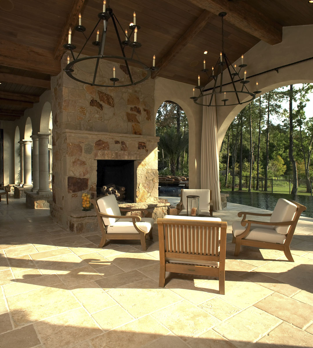 custom tuscan villa outdoor lounge