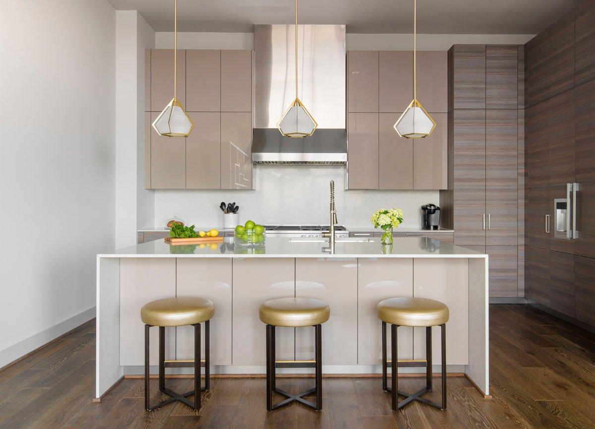 warm modern custom condo kitchen