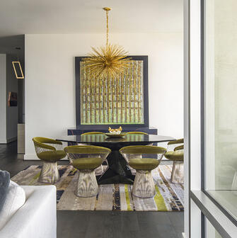 eclectic custom condo dining room