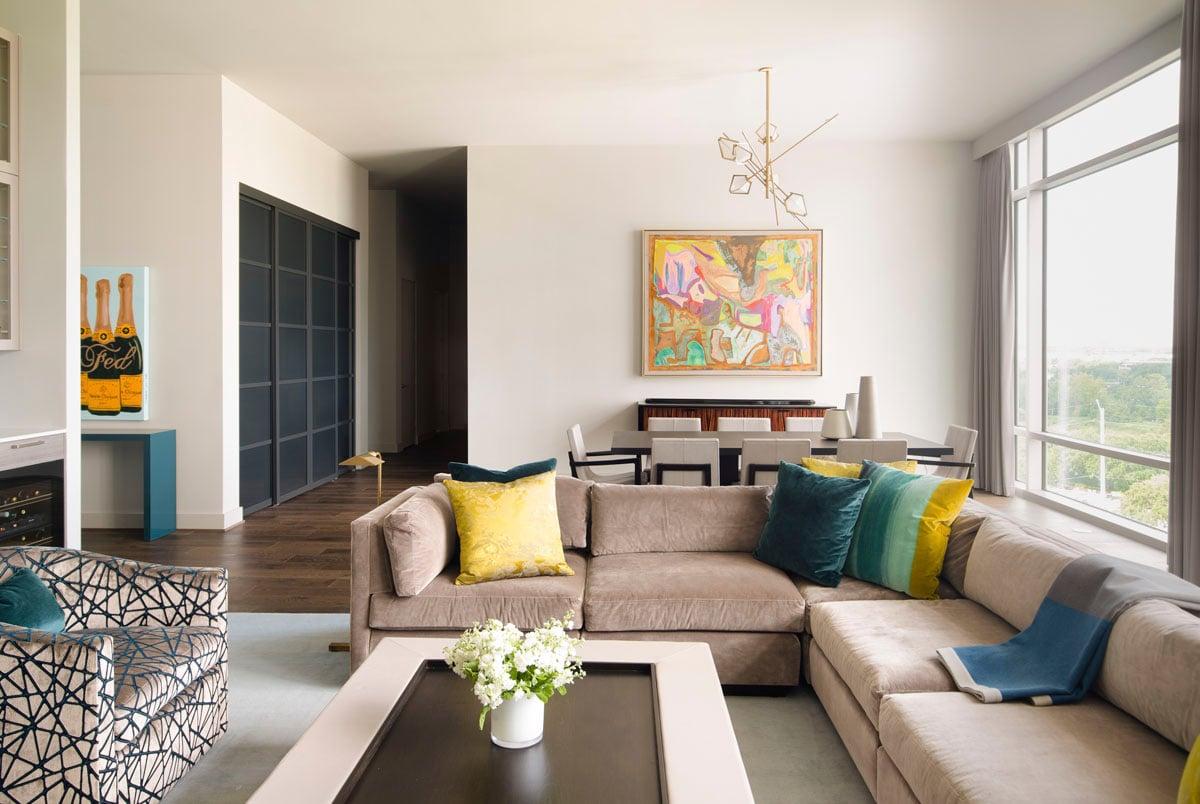 warm modern custom condo living room