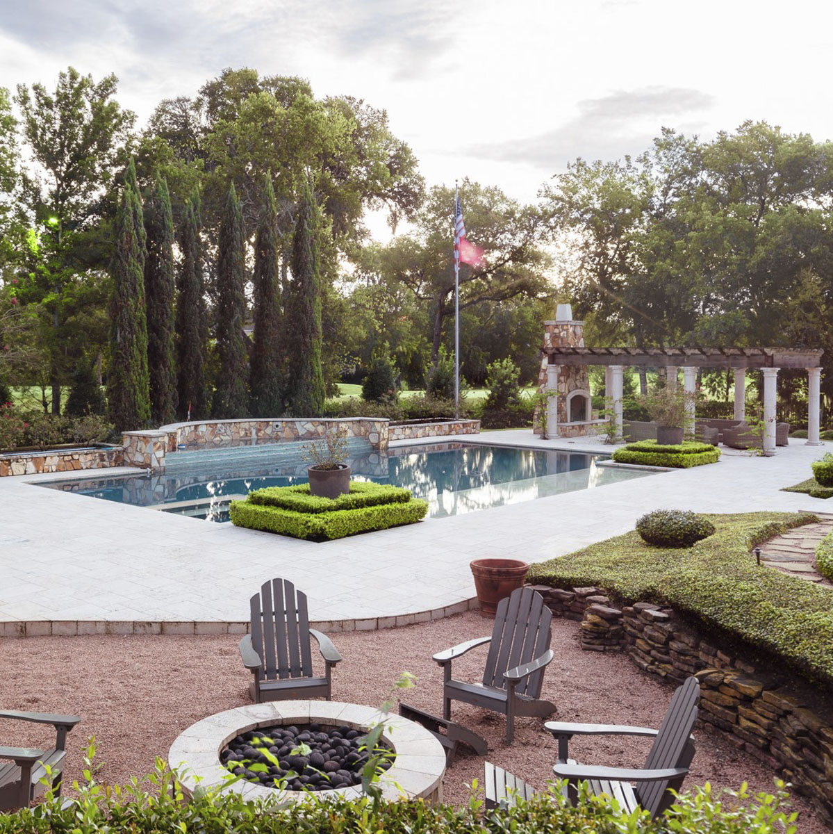 tudor style outdoor pool seating
