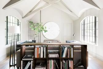 bookshelf in an english manor