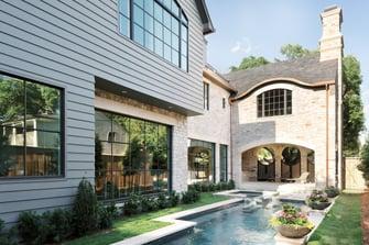 luxury English manor pool backyard