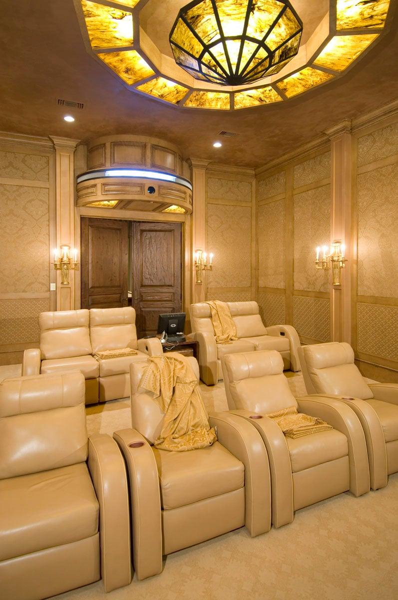 custom classic mediterranean movie room