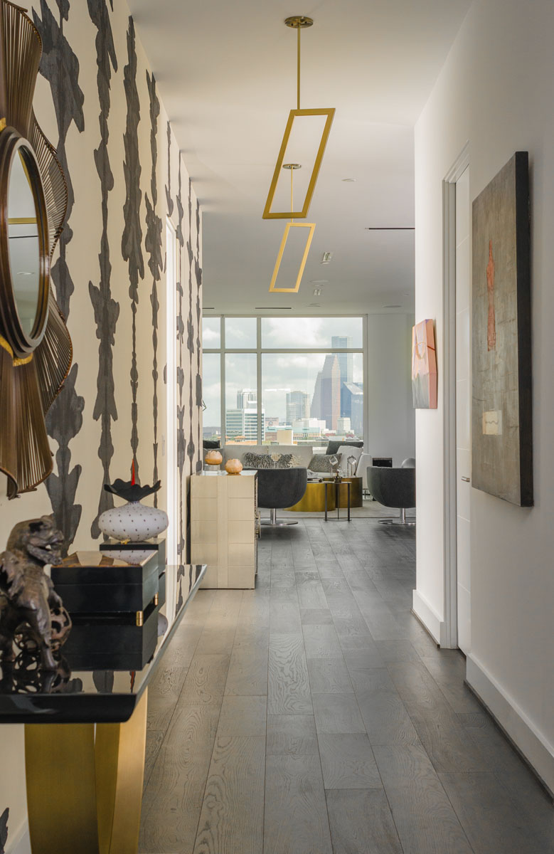 eclectic custom condo hallway