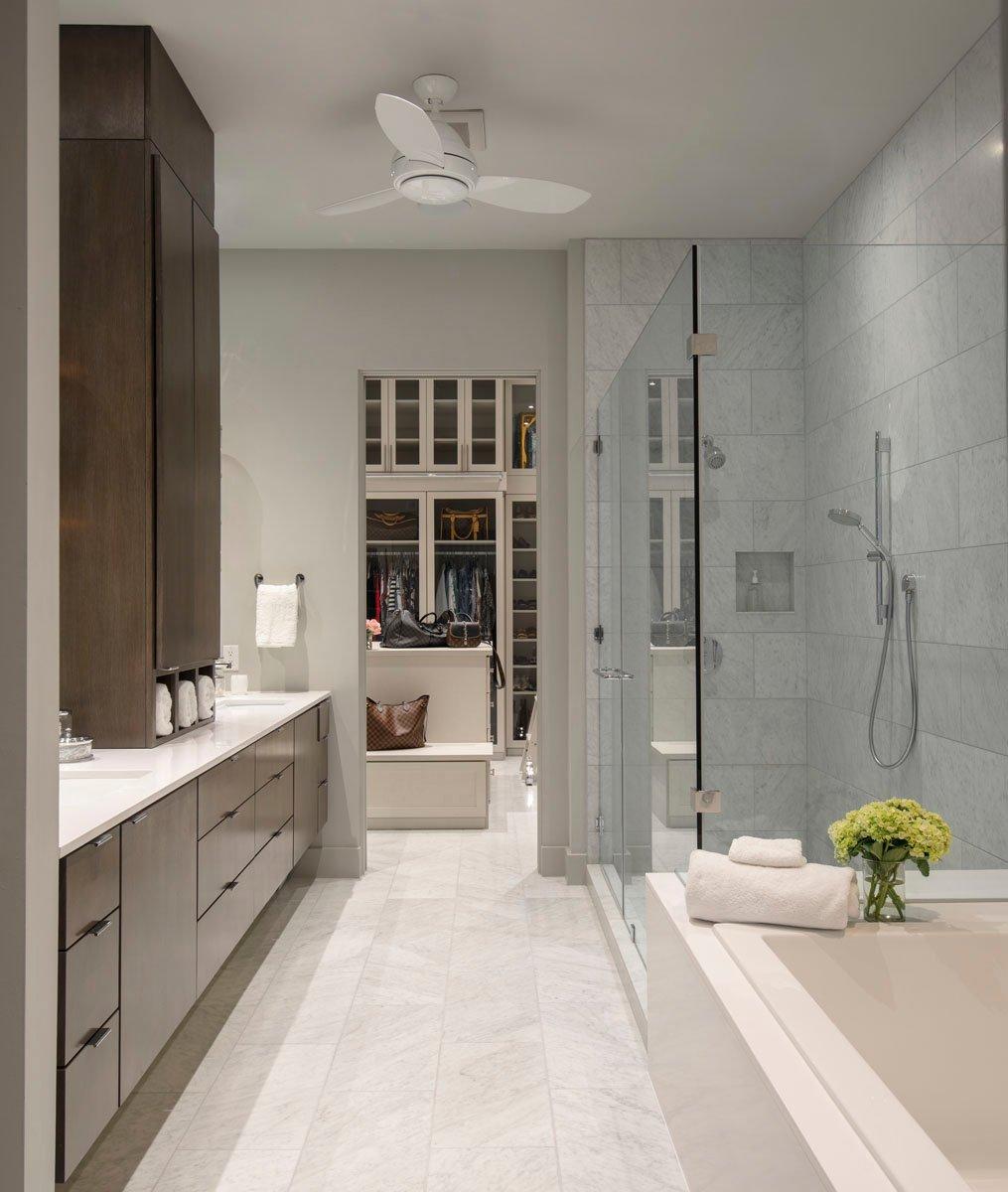 warm modern custom condo bathroom
