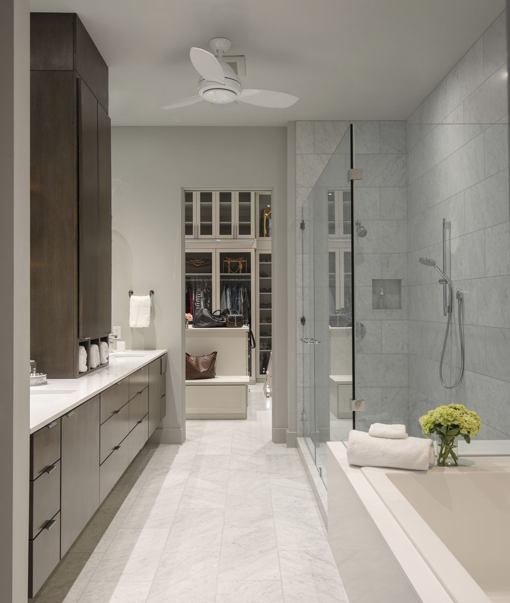 warm modern custom condo bathroom