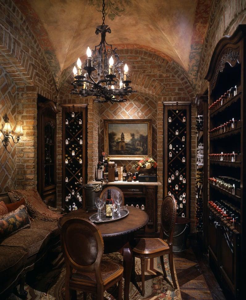 custom classic mediterranean wine cellar