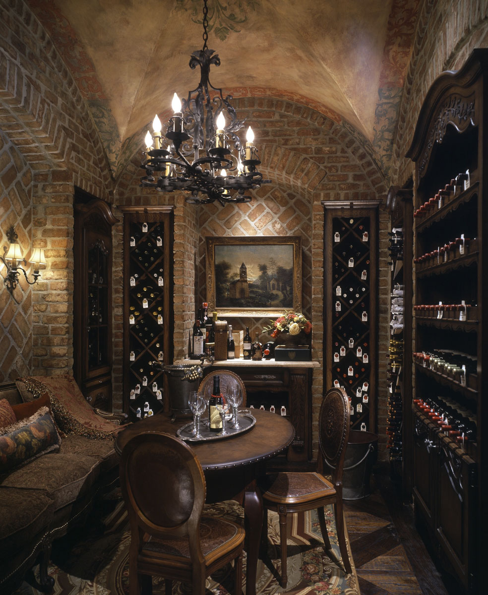 french chateau wine cellar
