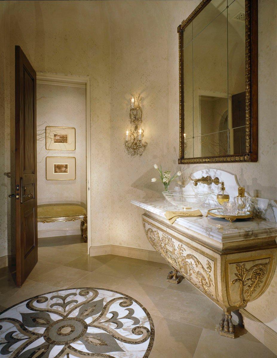 custom classic mediterranean powder room