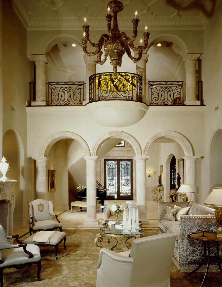 custom classic mediterranean living room