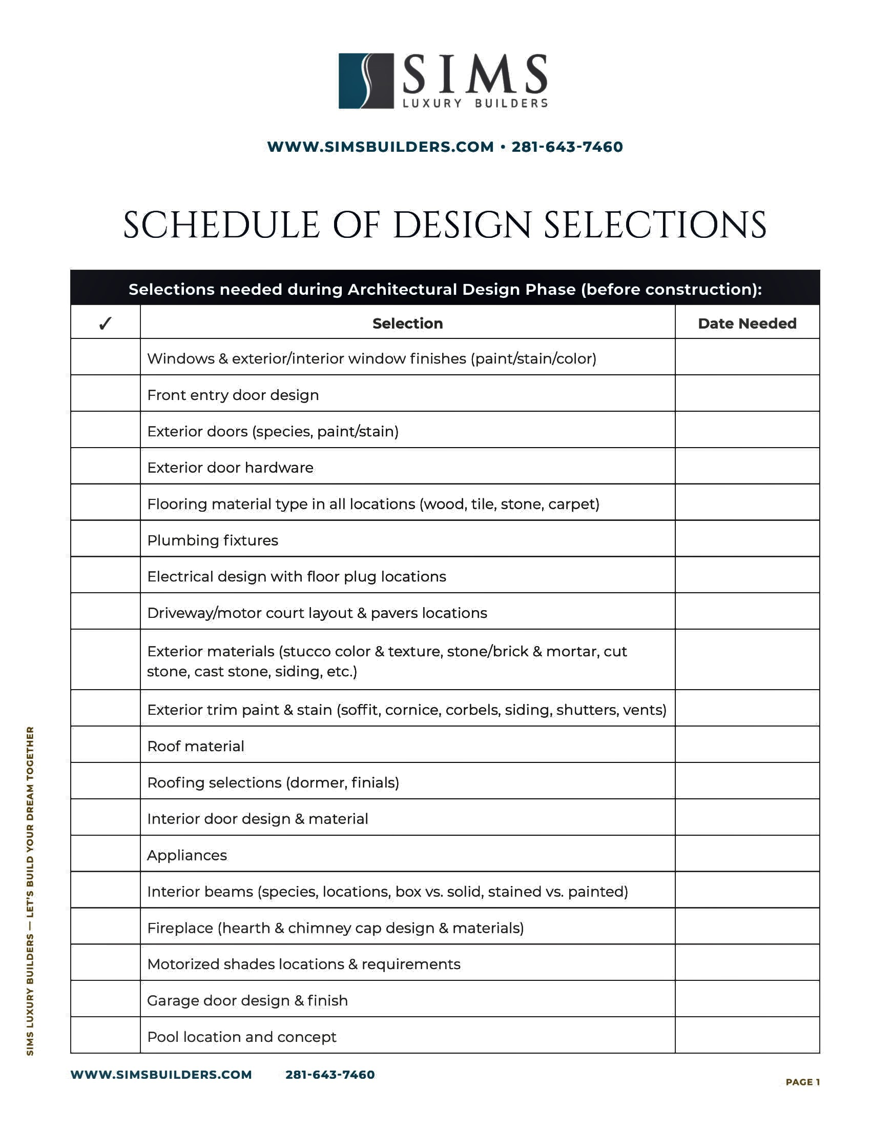 Schedule of Design Selections Resource Cover